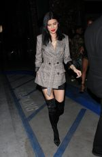 Nicole Williams Wears a plaid jacket as she heads to Beauty & Essex restaurant in West Hollywood
