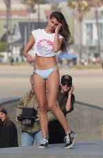 Taylor Hill In a bikini shooting a commercial for Victoria