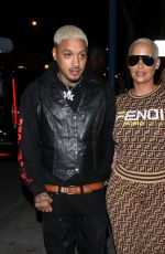 Amber Rose and Alexander Edwards are seen leaving the Delilah restaurant holding hands in West Hollywood