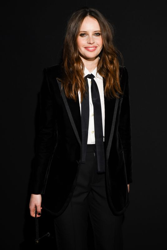 Felicity Jones At Saint Laurent show in Paris