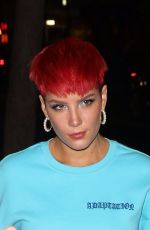 Halsey Shows off her new red hairdo as she arrives at the SNL cast dinner in New York