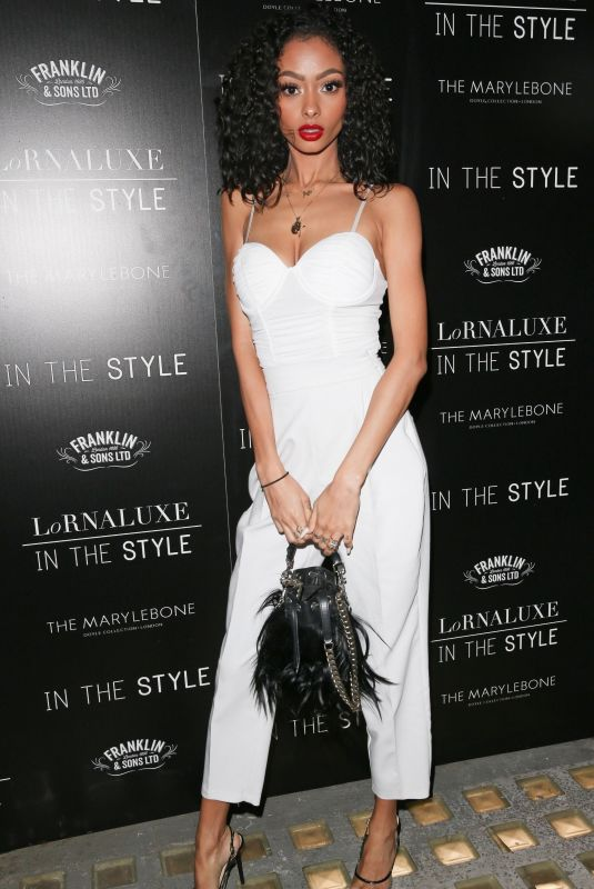 Jayde Pierce Arriving for the Lornaluxe In The Style Launch Party at Marylebone Hotel in London