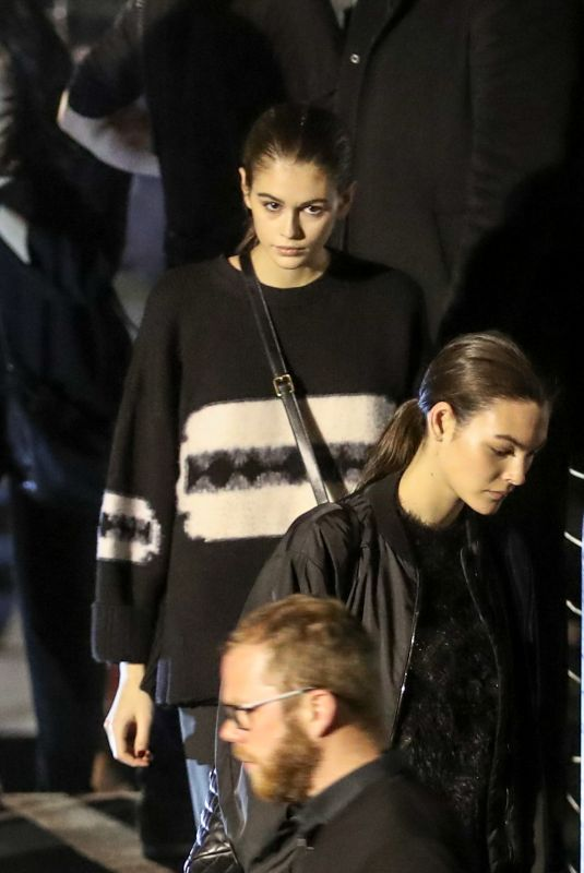 Kaia Gerber and Vittoria Ceretti after Saint Laurent fashion show in Paris