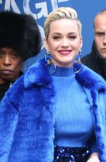 Katy Perry In a blue outfit while leaving GMA after promoting American Idol in New York