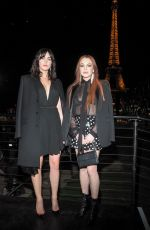 Lindsay Lohan and Aliana Lohan at the Saint Laurent Fashion Show in Paris