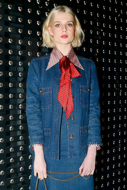 Lucy Boynton At Gucci show, Front Row, Fall Winter 2019, Milan Fashion Week, Italy