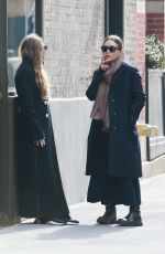 Mary-Kate and Ashley Olsen Outside of their office in New York