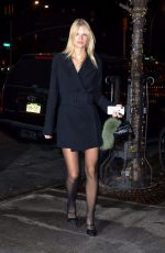 Nadine Leopold In a black dress as she heads to The Bowery Hotel in New York