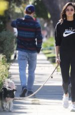 Nina Dobrev Walking her dog in Hollywood