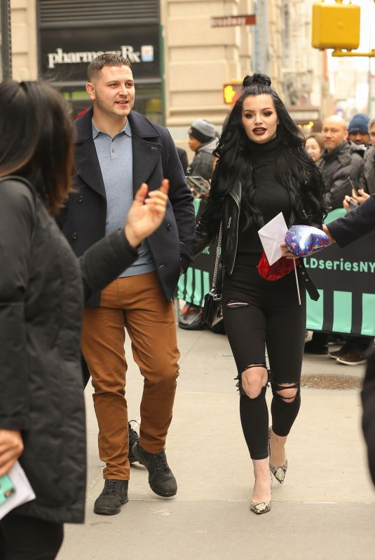 Paige Bevis and her boyfriend seen coming out from Build studios in New York