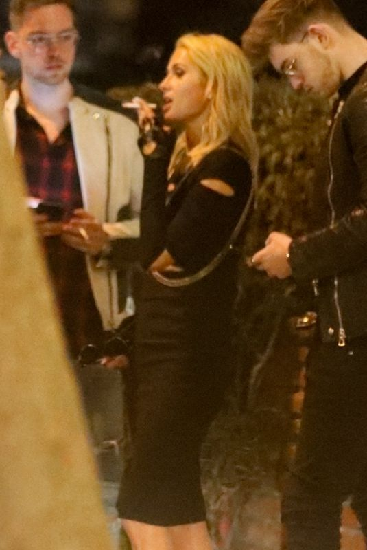 Paris Hilton Stops For A Smoke Break On A Night Out With