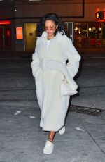 Rihanna Rocks a bathrobe inspired fur coat for a night out in New York