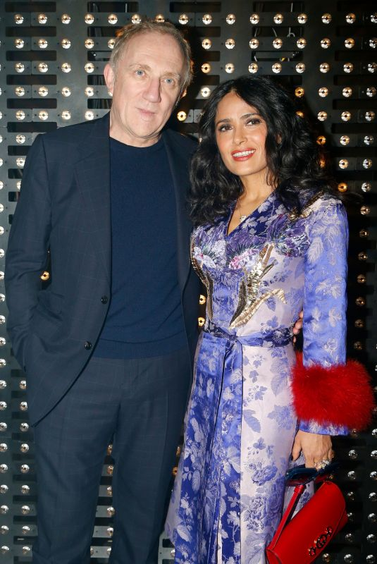Salma Hayek At Gucci show, Front Row, Fall Winter 2019, Milan Fashion Week, Italy