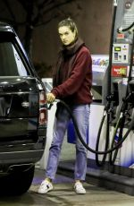 Alessandra Ambrosio Fills the tank of her Range Rover in Brentwood