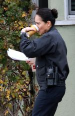 Alyssa Diaz Films a scene arresting Shawn Ashmore for ABC