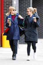Carey Mulligan and Dianna Agron share a few laughs as the duo grab coffee in SoHo