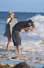 Claudia Fijal Doing a beach photoshoot for 138 Water with fashion photographer Malachi Banales in Malibu