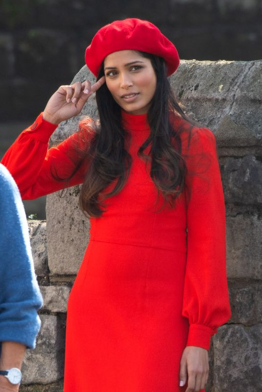 Freida Pinto On a film shoot in Pimrose Hill