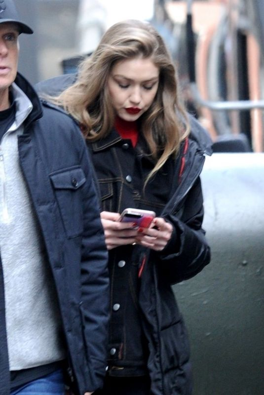 Gigi Hadid Continues her new fashion photo shoot on a rooftop in NYC