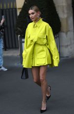 Hailey Bieber Shopping at the Balmain Store in Paris