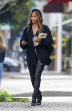 Halle Berry Wears skin-tight leather pants to take her son Maceo out for a snack at Einstein Bros