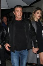 Jennifer Flavin along with daughter Sistine Rose Stallone are spotted dining at Madeo restaurant in Beverly Hills