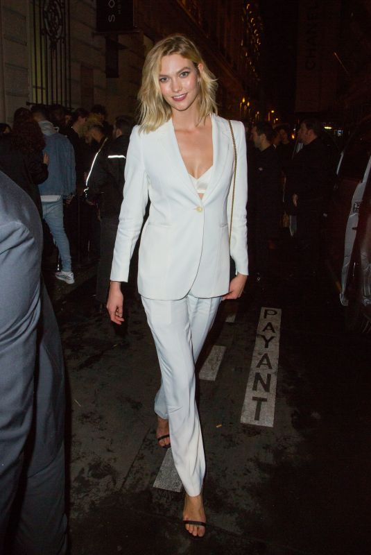 Karlie Kloss Outside Off-White after-party in Paris