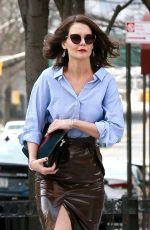 Katie Holmes In a leather skirt out in NYC