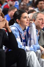 Kendall Jenner At the game between the Indiana Pacers and Philadelphia 76ers in Philadelphia,