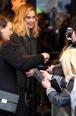Lily James Arriving at the Noel Coward Theatre where she is starring in All About Eve in London