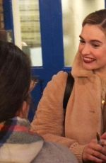 Lily James Departing the Noel Coward Theatre after her performance in the play