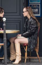 Lily-Rose Depp Out for lunch in Paris
