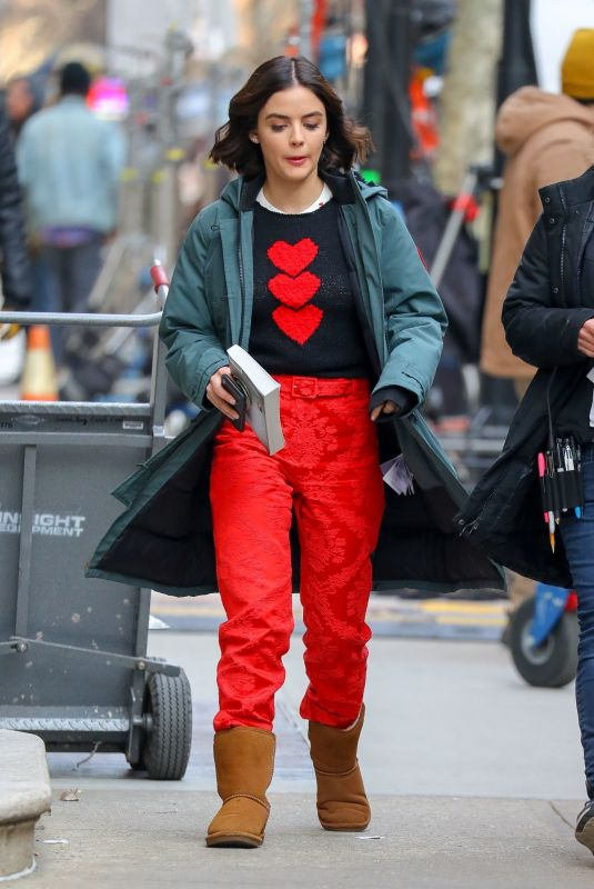 Lucy Hale In red pant as she leaves the set of