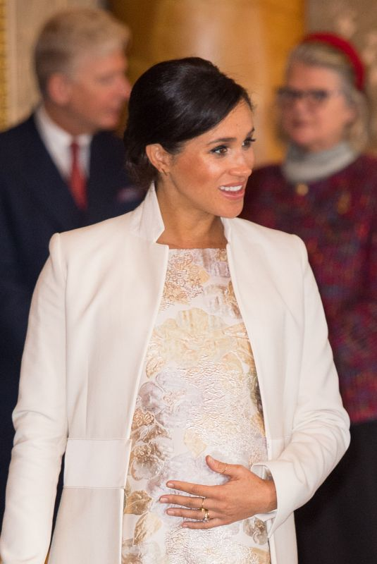 Meghan Markle, Duchess of Sussex attends a reception to mark the fiftieth anniversary of the investiture of the Prince of Wales in London