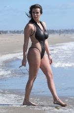 Nadine Mirada In a zip-front swimsuit on Santa Monica Beach
