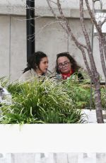 Nina Dobrev On the Girafe restaurant terrace with her mother Michaela Constantine in Paris