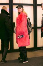 Suki Waterhouse Keeps warm in a pink coat for a meeting in NYC