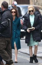 Ellie Bamber & Sophie Cookson On the set of The Trial of Christine Keeler in Bristol, England