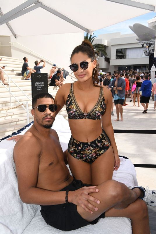 Francia Raisa and Christian Adkins attend Palms Casino Resort