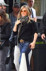 Jennifer Aniston Is seen smiling and waving as she leaves set of her new show for Apple in Century City