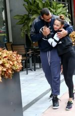 Jennifer Lopez and Alex Rodriguez take the kids to a yoga class in Miami
