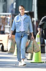 Kate Harrison Sports double denim for a Trader Joe