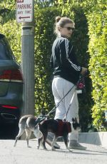 Kate Mara Out walking her dogs in Los Angeles