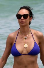 Lilly Becker In a blue bikini on the beach in Miami
