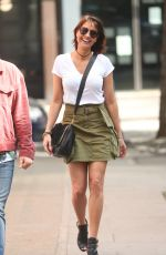 Melanie Sykes Shows off long legs in the summer sun arriving at BBC studios