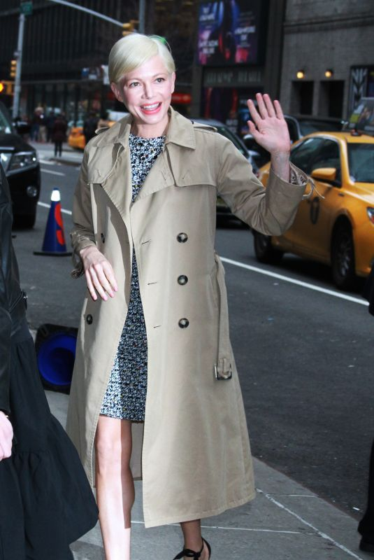 Michelle Williams Arriving at The Late Show with Stephen Colbert in New York City
