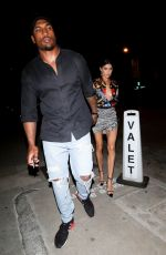 Nicole Williams and Larry English arrive for dinner at Craigs restaurant in West Hollywood