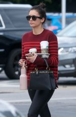 Nina Dobrev Shows off her fit figure for a Starbucks coffee run in West Hollywood