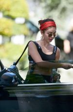 Sarah Hyland Chats with a friend after a yoga session in LA