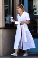 Selma Blair Indulges in some cake and coffee while using her cane to walk around town in Studio City